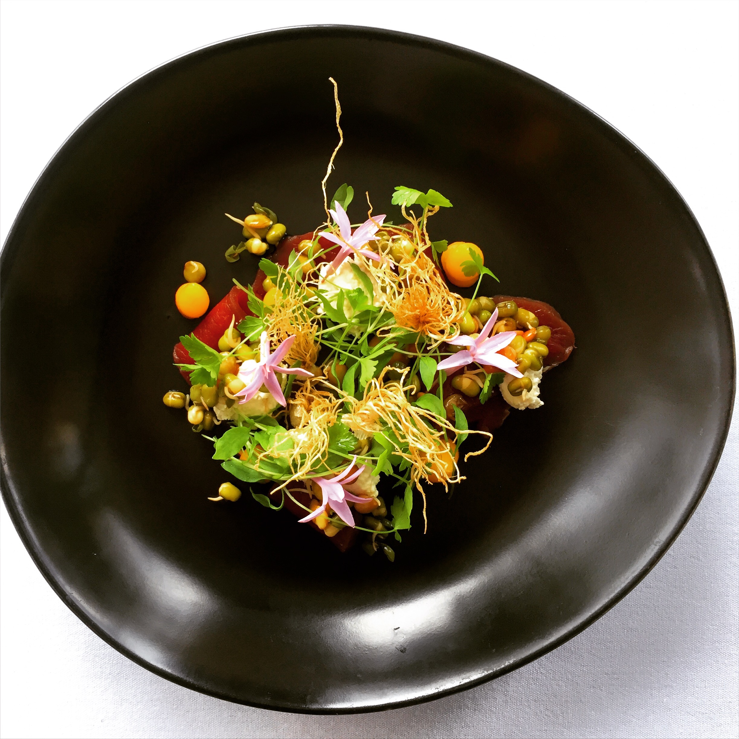 CURED VENISON LOIN, ONION TAILS, SPROUTING GRAINS, ORGANIC MILK CURD, MICRO LEAF AND GARLIC FLOWER.