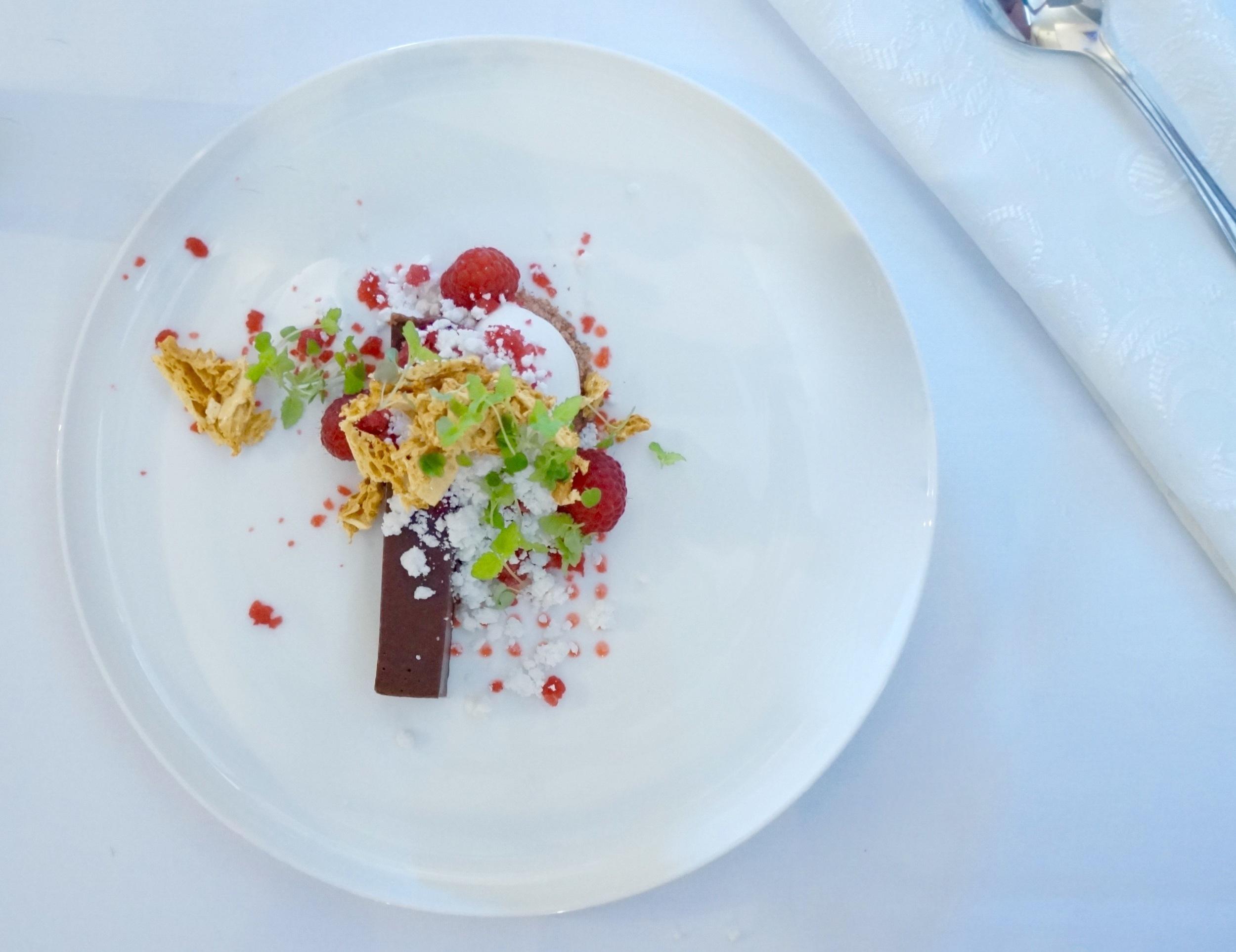 ZOKOKO CHOCOLATE TART, COCONUT SORBET, RASPBERRY ICE, HONEYCOMB, MICRO LEMON BALM