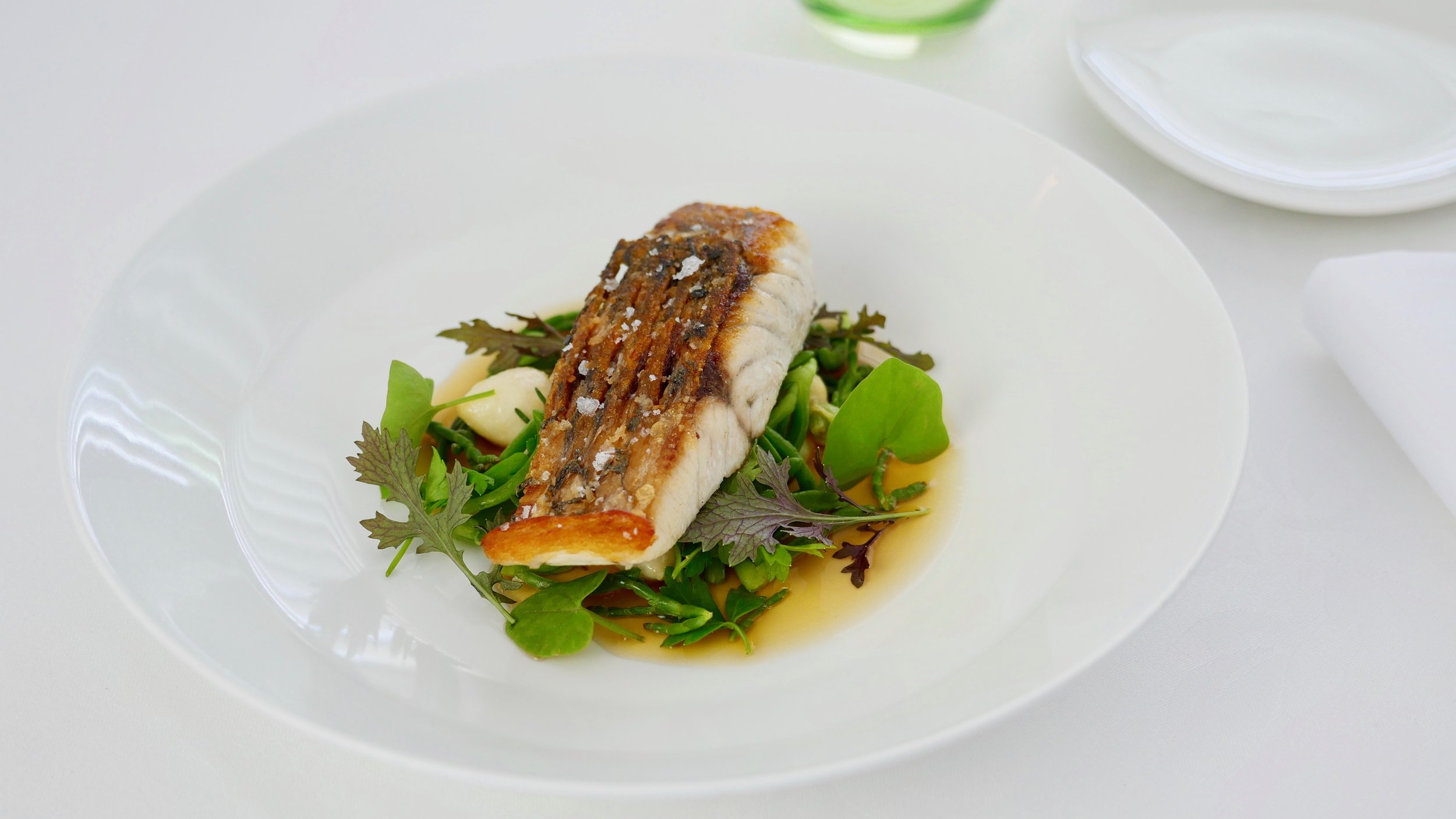 CONE BAY BARRAMUNDI, GARLIC MILK, BABY TURNIPS, SEA HERBS, SMOKED CONSOMME