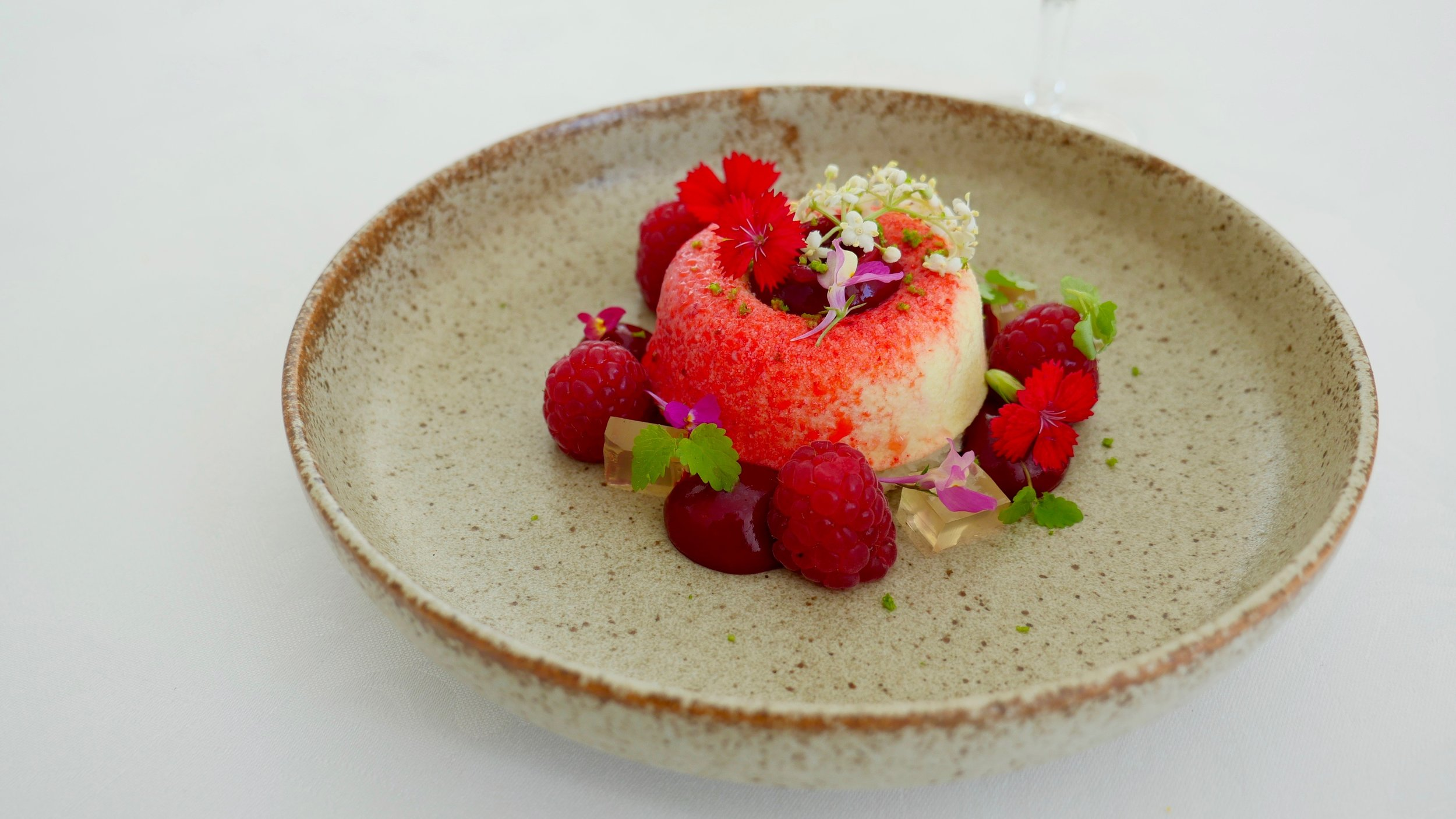COCONUT & WHITE CHOCOLATE SEMIFREDDO, RASPBERRIES, ELDERFLOWER JELLY, KAFFIR LIME