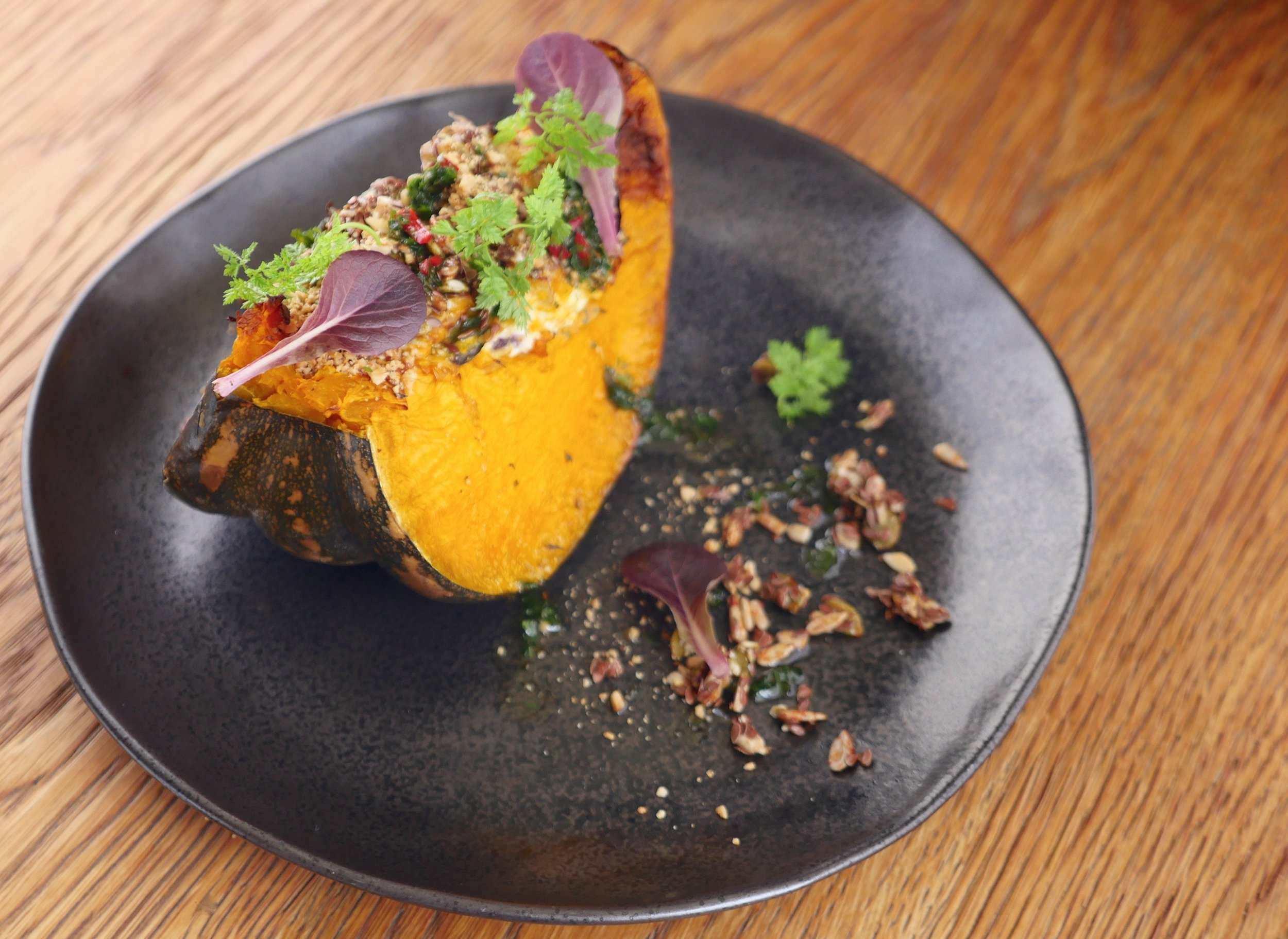 ROASTED GARDEN PUMPKIN, LOCAL GOAT CURD, PB BABY COS, TOASTED SEEDS
