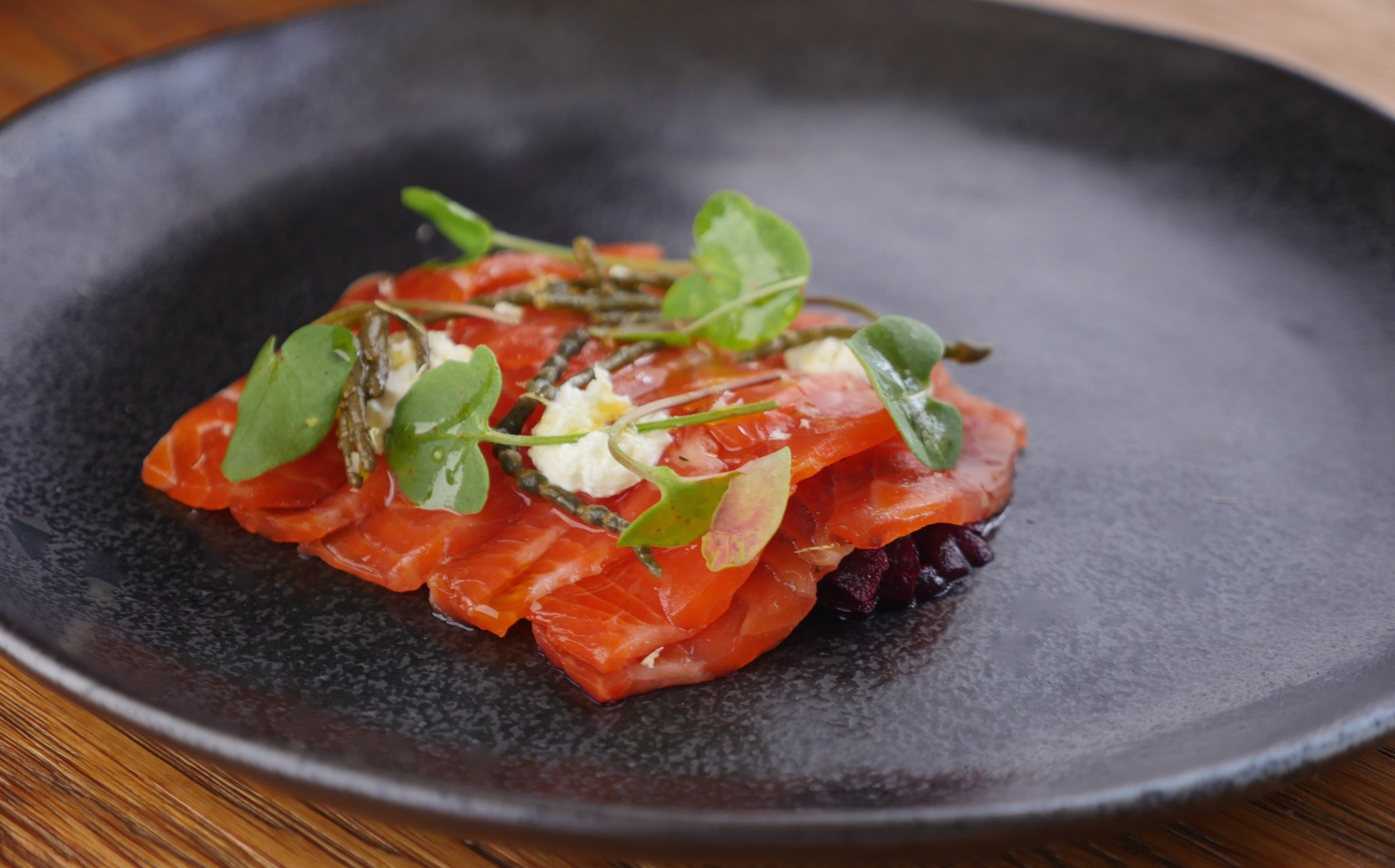CURED OCEAN TROUT, FERMENTED BEETS, CHIVE CREAM, SAMPHIRE, WOODLAND SORREL