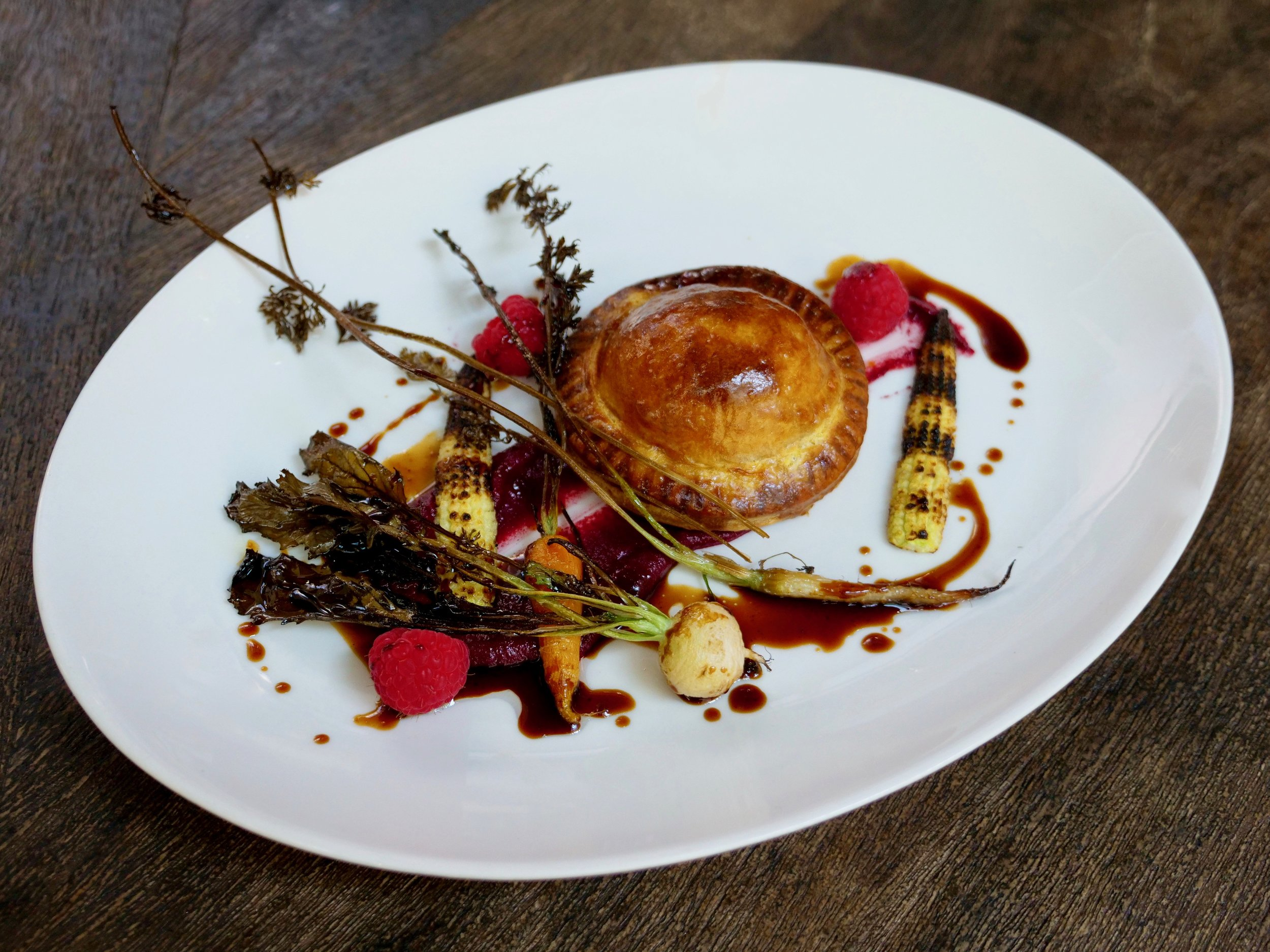 NEW ENGLAND PHEASANT PIE, BEETROOT PUREE AND PETITE BOUCHE BABY VEGETABLES.