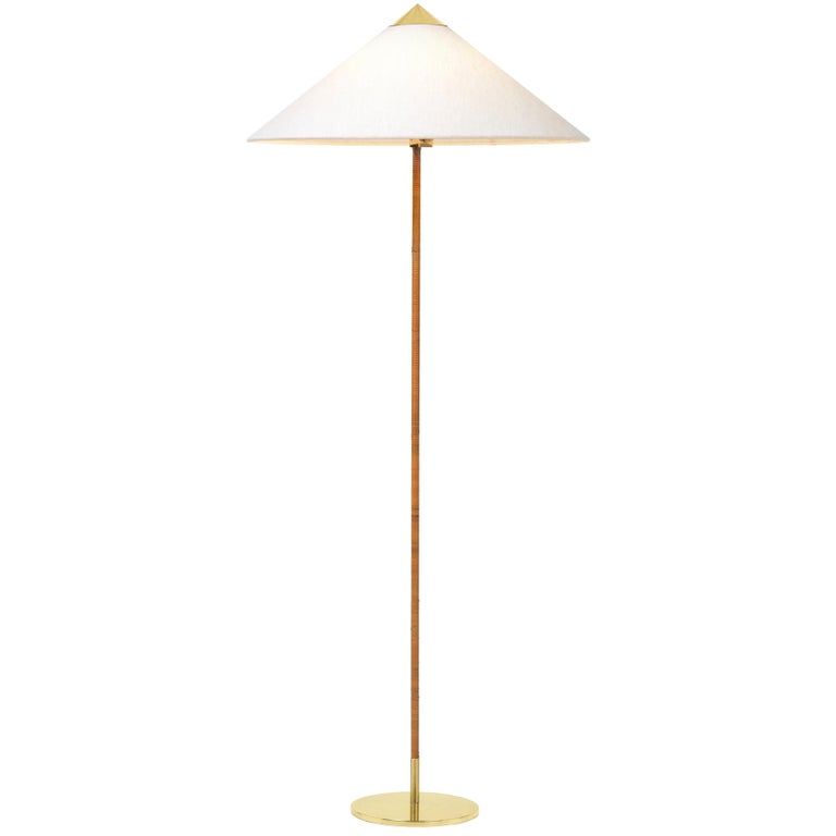 Paavo Tynell Model 9602 Brass and Rattan Floor Lamp, 1st Dibs