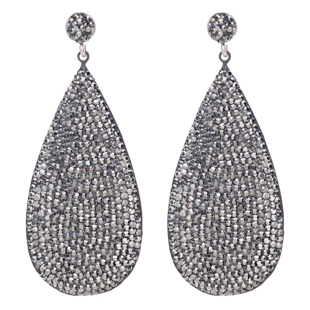 Large Hematite Teardrop Earring, Silver