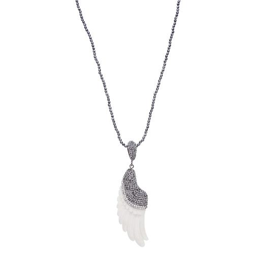 Bone Angel Wing Necklace, Hematite