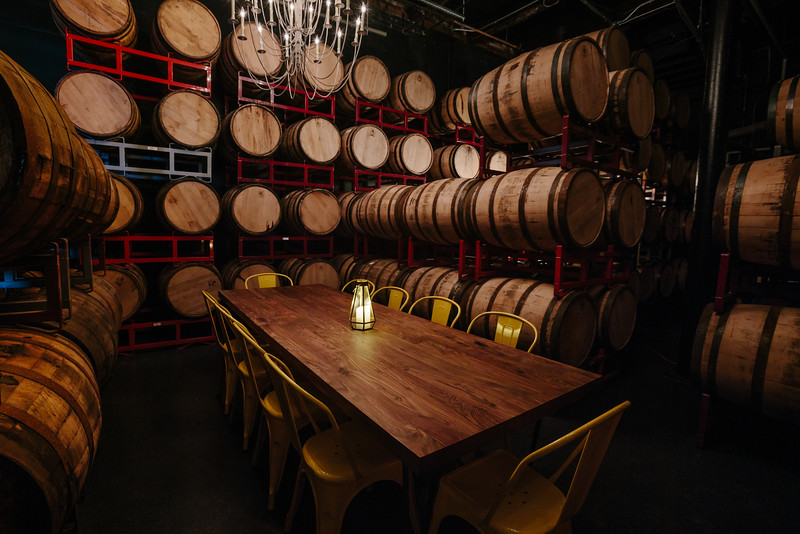 Barrel Room set for an intimate chefs dinner.