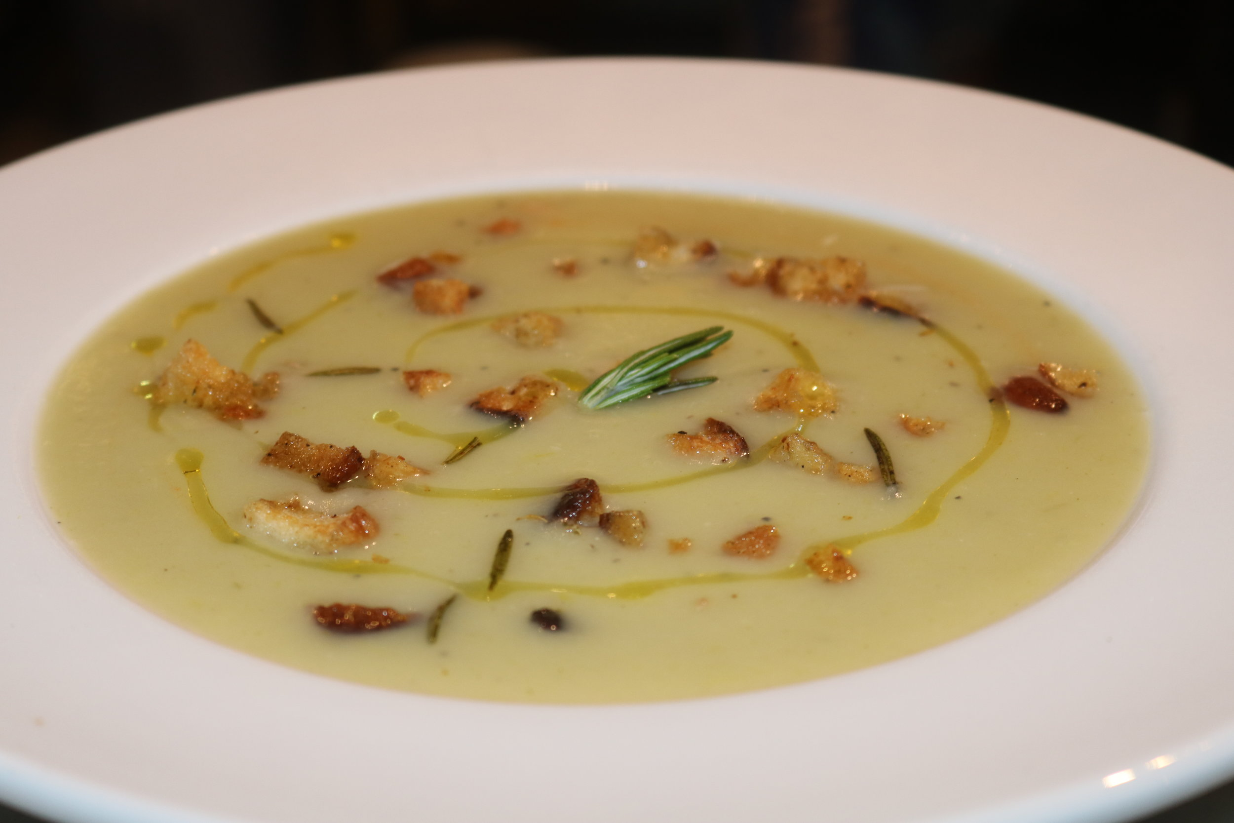 Warm up with our leek and potato soup. Each portion will be served with homemade croutons and a drizzle of olive oil.