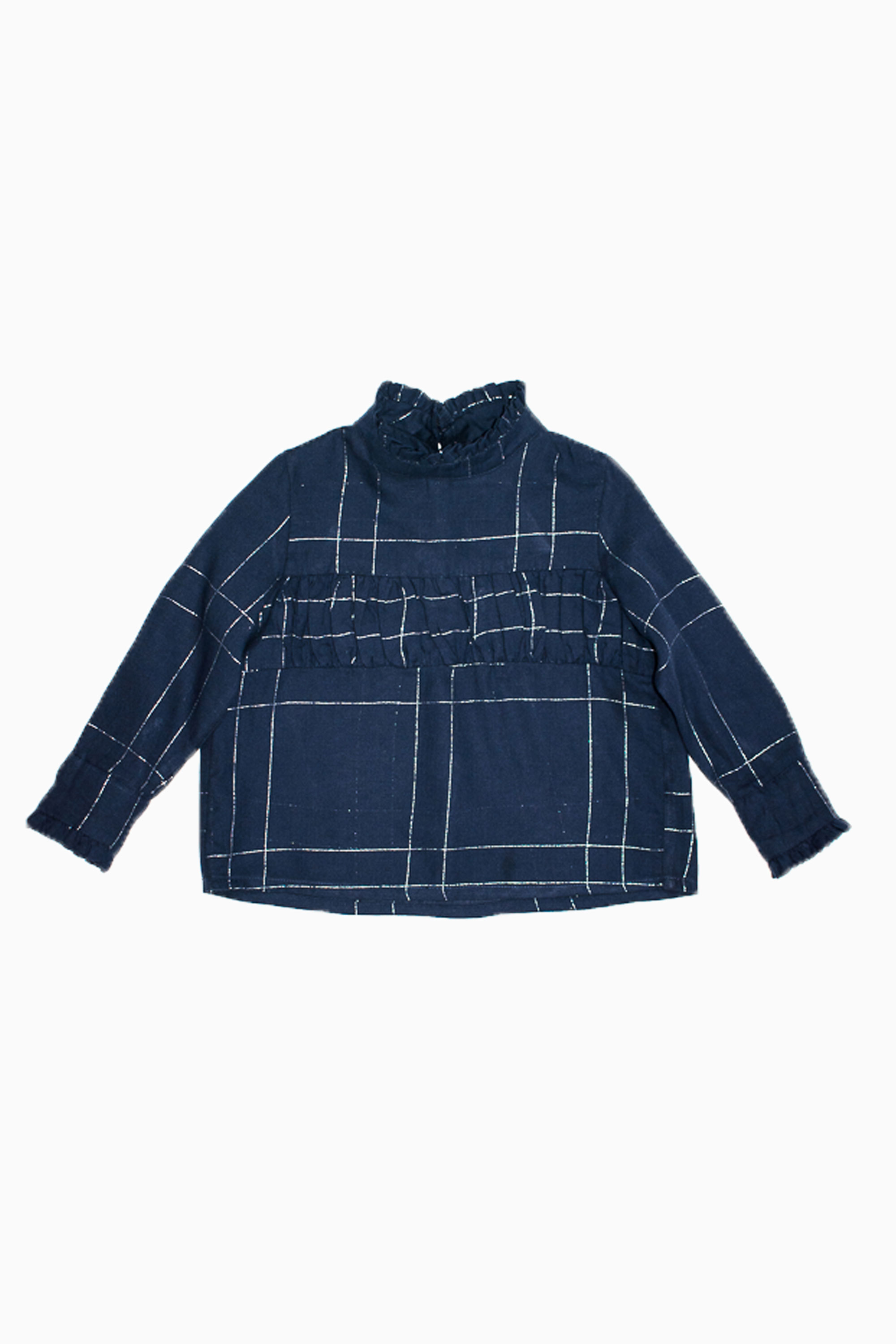 navy silver squared blouse