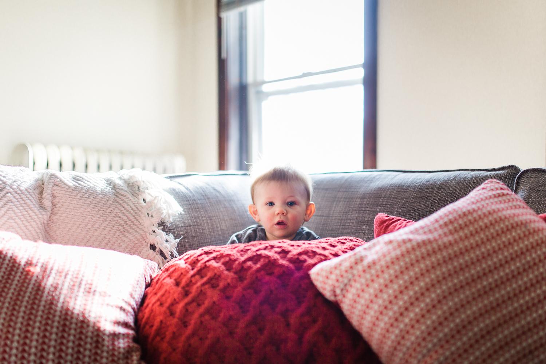 Hiding under pillows!