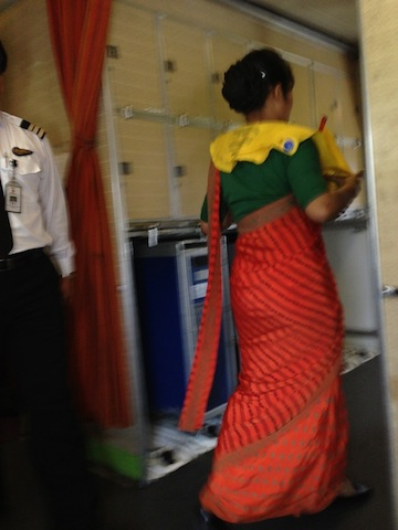 Flight Attendant in traditional Sari