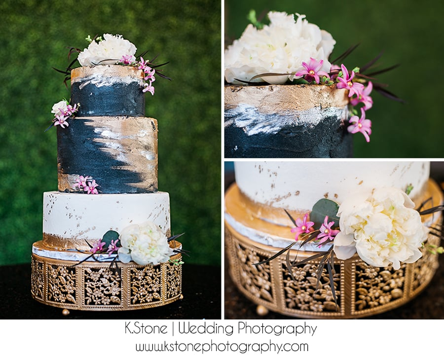 Love this wedding cake with the edible gold