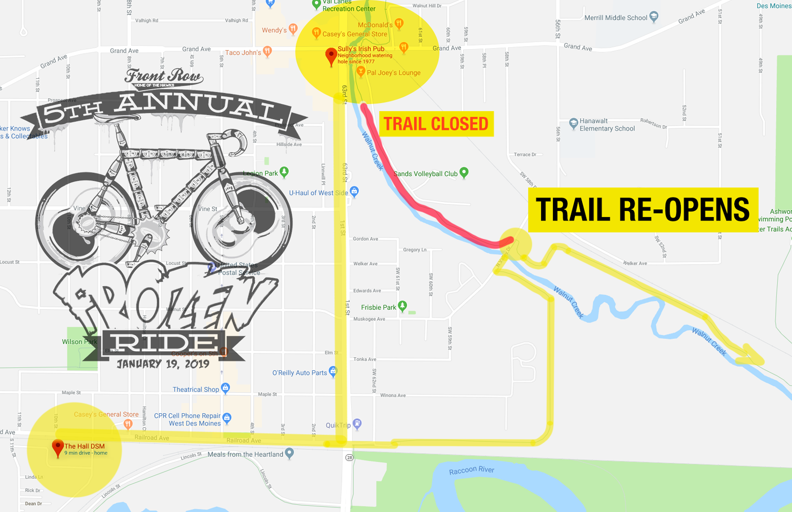 TRAIL CLOSURES SHOULD NOT IMPACT YOUR RIDE ON THE 19TH. INFO VIA DES MOINES PARKS AND REC.