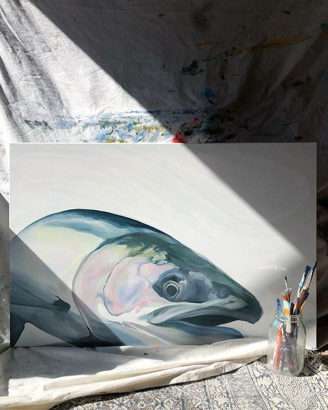 Silver in the works. • • • • #wip #workinprogress #pnwartist #flyfishing #flyfishingart #silver #flyfishalaska #artistsoninstagram #art #oiloncanvas #fishart #fishartwork #artforsale