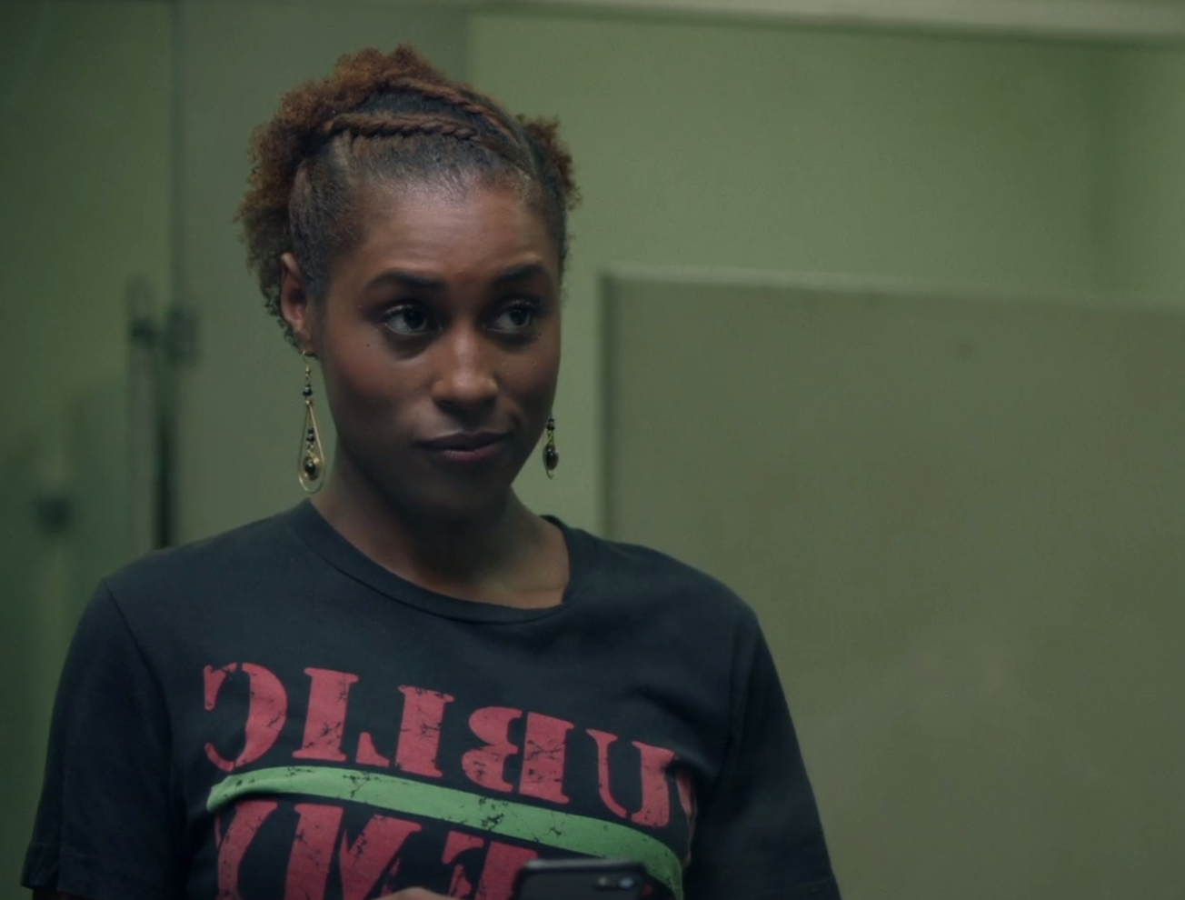 Flat twist half up hairstyle Issa Rae Wore on HBO Insecure Hella Shook