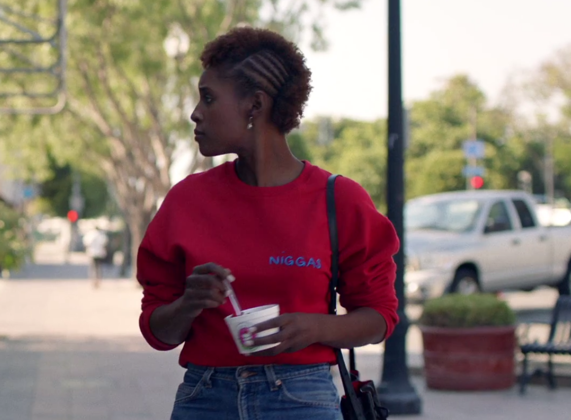 Hair worlds collide in the cold open: Cornrows encroaching on a faux-hawk as Issa ponders gentrification in her community.