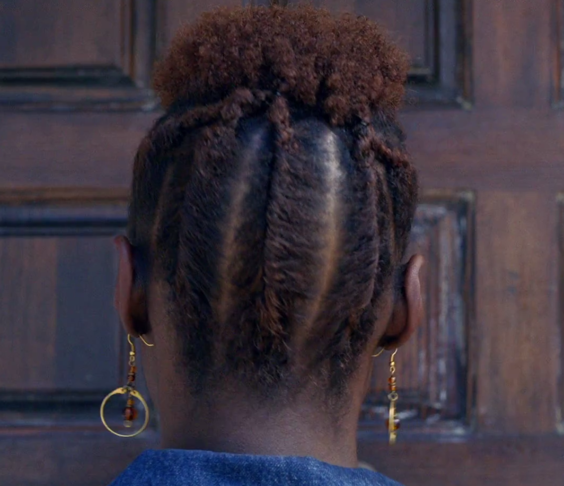 Close up of the final flat-twist look, before the big reveal of to whose house Issa is moving.