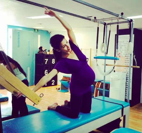 (At Pilates class in Mexico City, 9 months pregnant with my daughter, Reina)