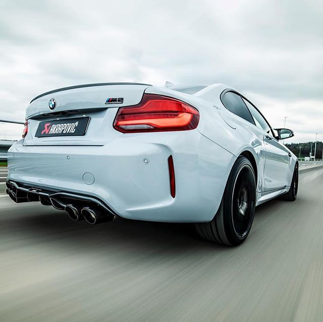 Akrapovic Evo System titanium with carbon tailpipes and carbon diffuserfor #BMW #m2competition competition now available @vmc_automotive_india #racing #loud #fast #purepower