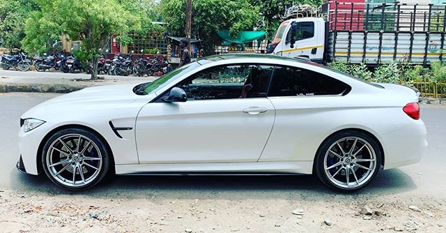Perfect stance #bmw #m4 equipped with #HRE #FF04 #akrapovic evolution system @vmc_automotive_india @akrapovic @akrapovic_distributor_india #bimmerfest #stancenation