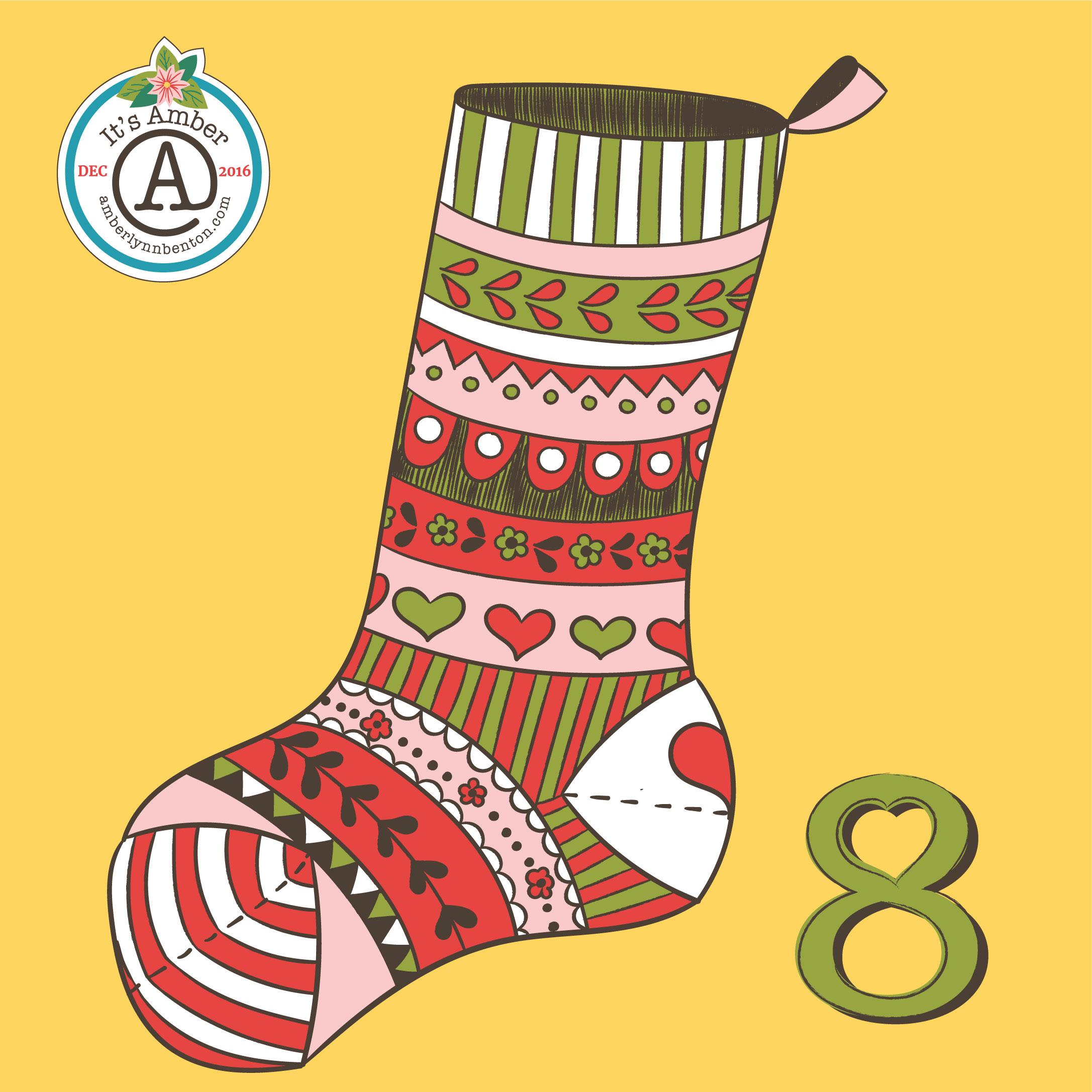 Pretty Stocking by Amber Lynn Benton for #ItsAdvent2016