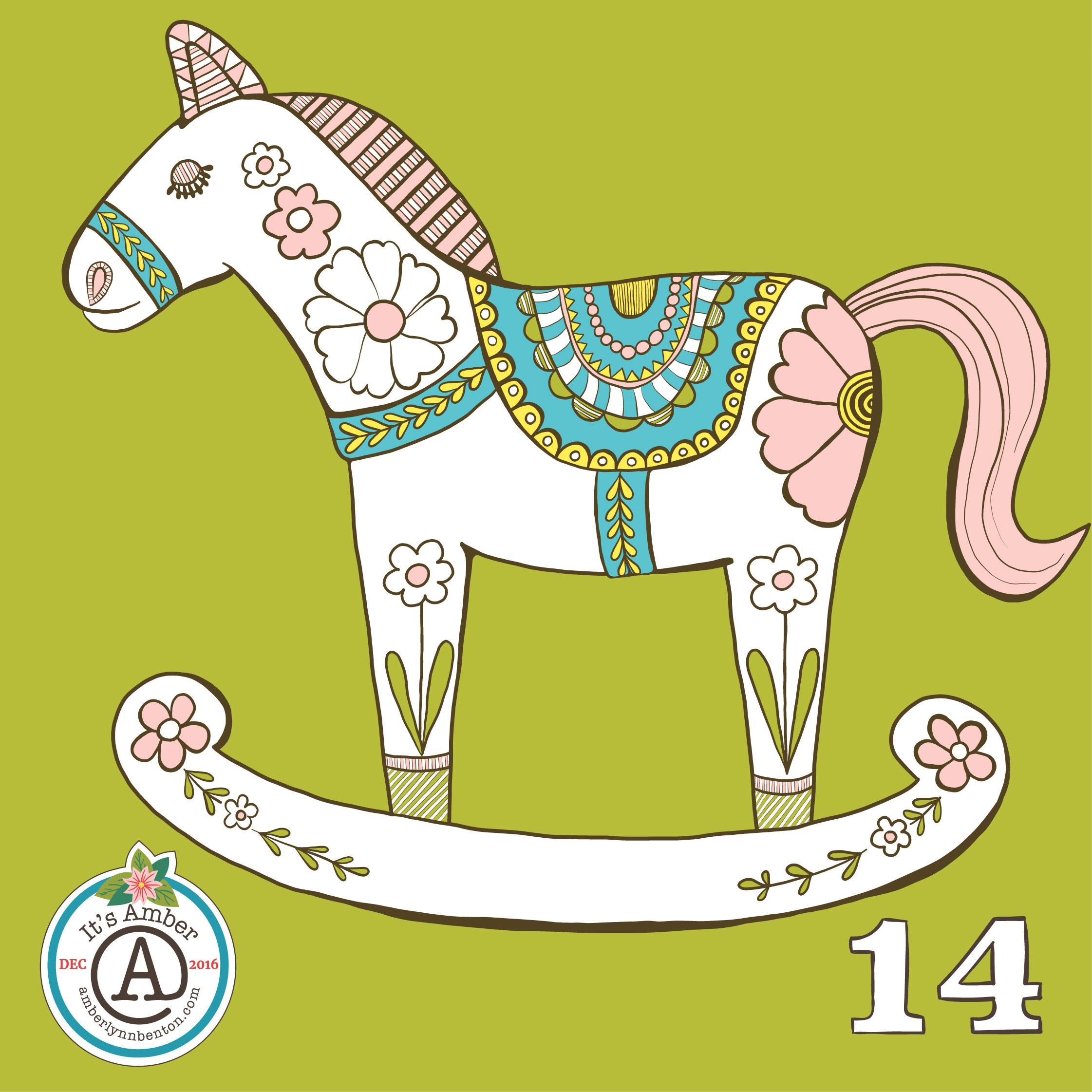 Painted Rocking Horse by Amber Lynn Benton for #ItsAdvent2016