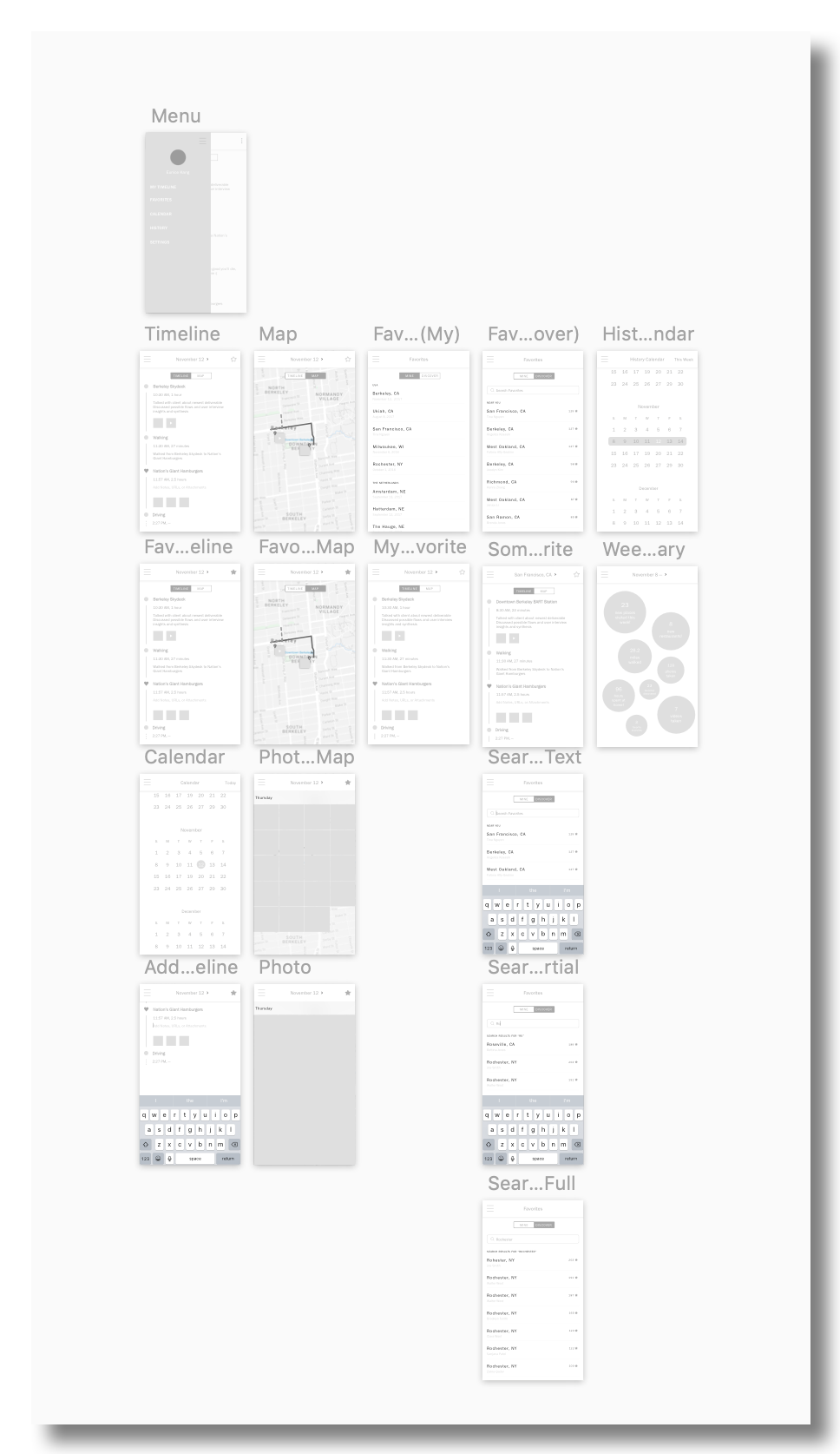 Sketches translated to medium-fidelity designs.
