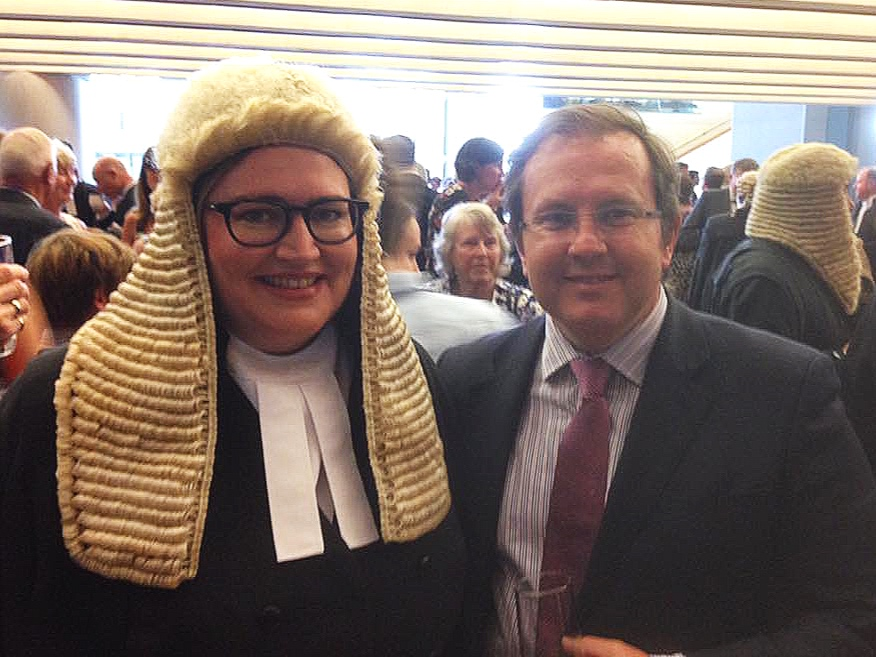 Dominique Hogan-Doran SC and brother Justin Hogan-Doran (Barrister, NSW Bar) at the Silk Bows in Canberra
