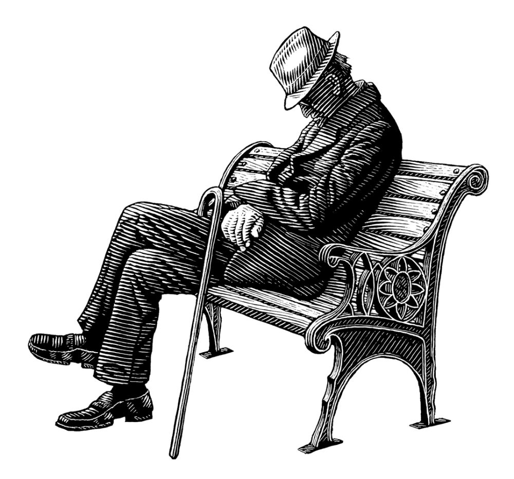 JP Morgan Chase Change, Man on Bench