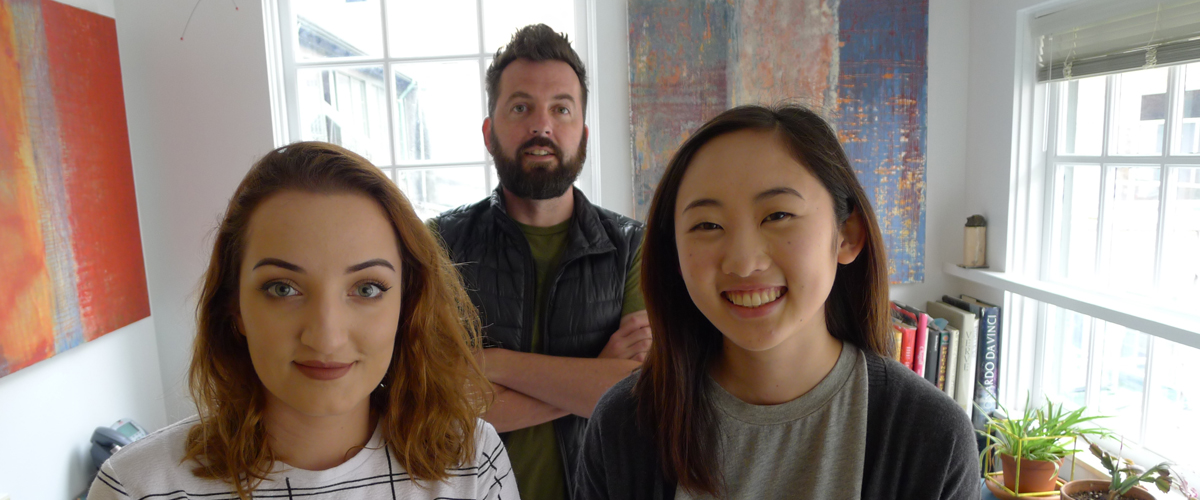 Pictured: Alexis Burke (BFA student Interdisciplinary Arts), Justin Hamacher (Faculty, Division of Design), Stephanie Yu (BS student Human Centered Design and Engineering).