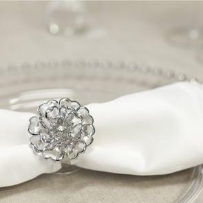 Peony Napkin Ring, Silver