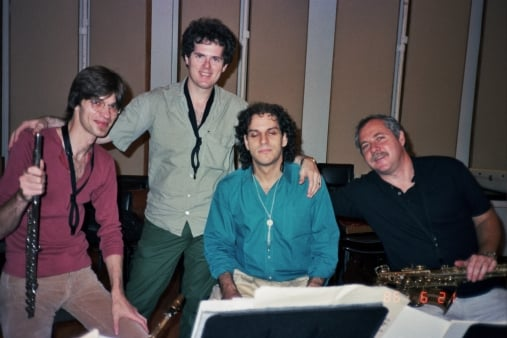 Mintzer Big Band Sax section: Bob Malach, Pete Yellin, Lawrence Feldman, Roger Rosenberg Clinton Studios NYC 1986