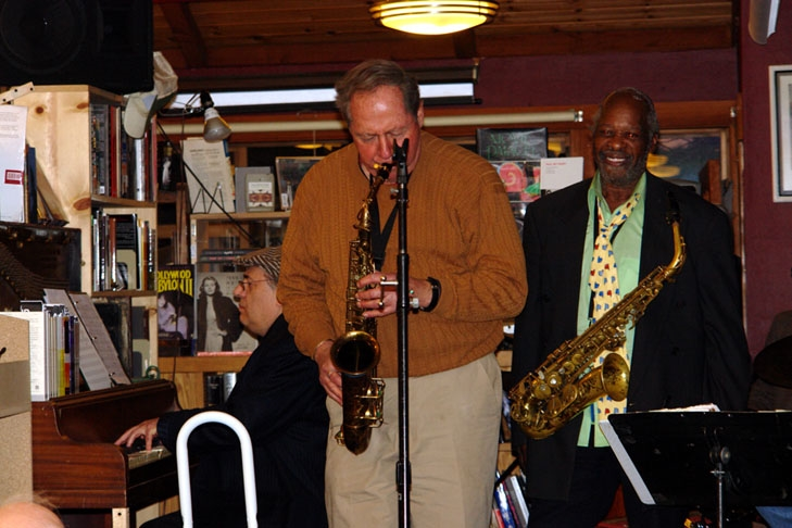 Eugene Pliner, Pete Yellin and Bishop Norman Williams at Bird and Beckett Bookstore, SF.
