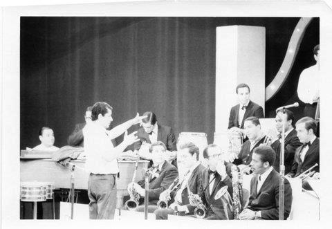 """Tito Puente and band 1960s. Tito Puente, Mario Rivera, Puchi Boulong, Victor Paz, Lew Soloff, Gil Lopez, Dick """"Taco"""" Mesa, Pete Yellin, Bobby Porcelli."""