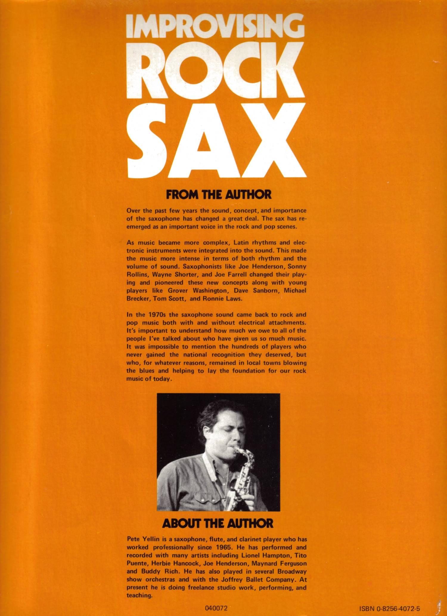 Improvising Rock Sax by Pete Yellin