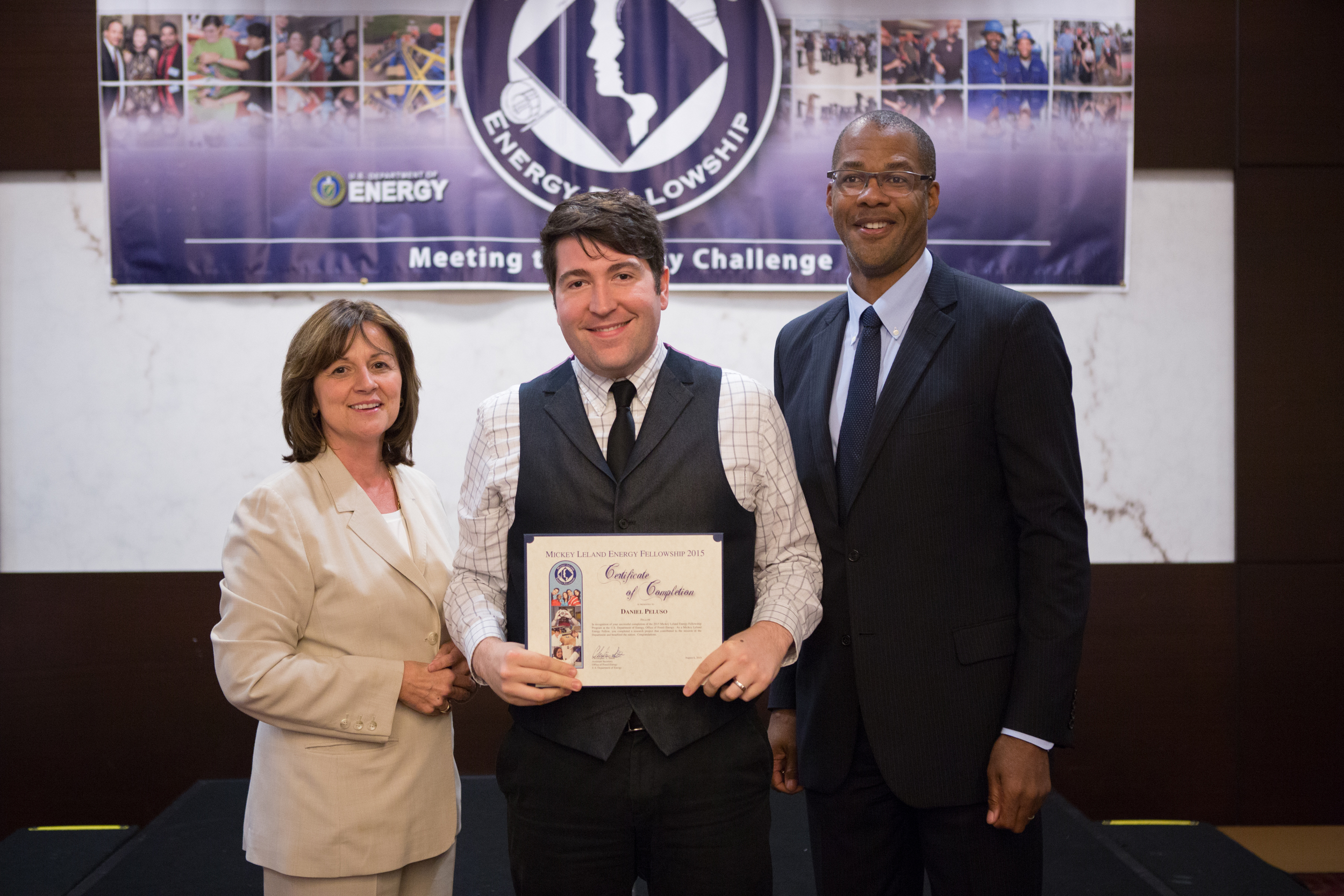 Receiving my certificate of completion award for the Mickey Leland Energy Fellowship from director of NETL, Dr. Grace Bochenek, and the Assistant Secretary for the Office of Fossil Energy for the U.S. Dept. of Energy, Christopher Smith. August 2015.