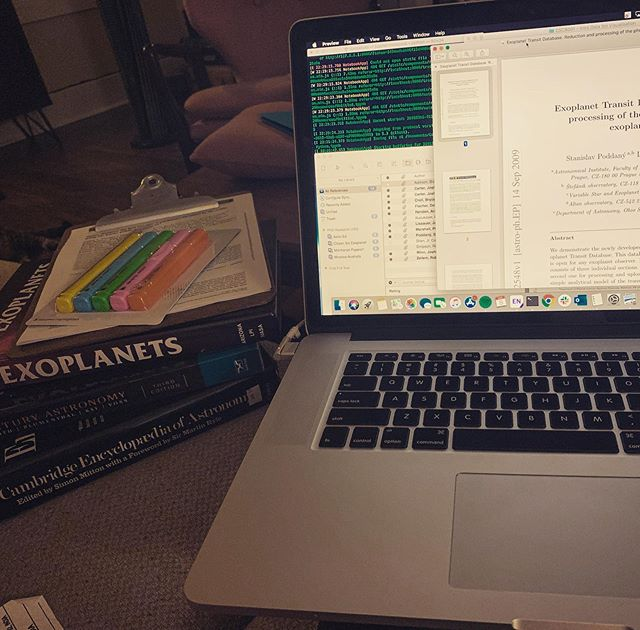 #PhDlife tonight: books, papers, highlighters, computers, papers, coding, literature and a cat.