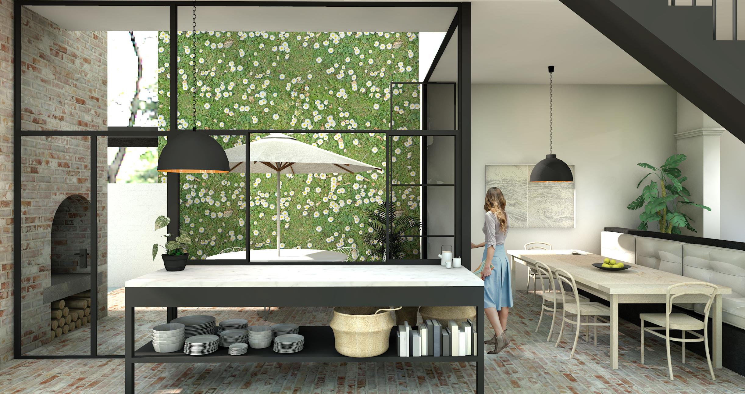 Internal Courtyard house Kitchen to Court Olivia van Dijk Architecture.jpg
