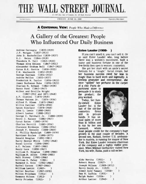 Wall Street Journal 1989 (Source: Estée Lauder Companies)