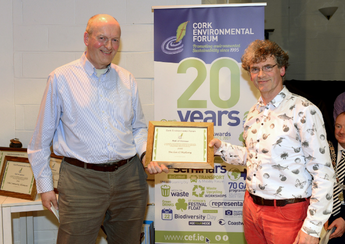 "Director Of Environmental Pillar Ireland Michael Ewing presents the Outstanding Individual Award at Cork Environmental Forums 20th Annual Award Ceremony for directing RIVER RUNNER and initiating and managing the ""Free The River Lee"" Campaign 2015"