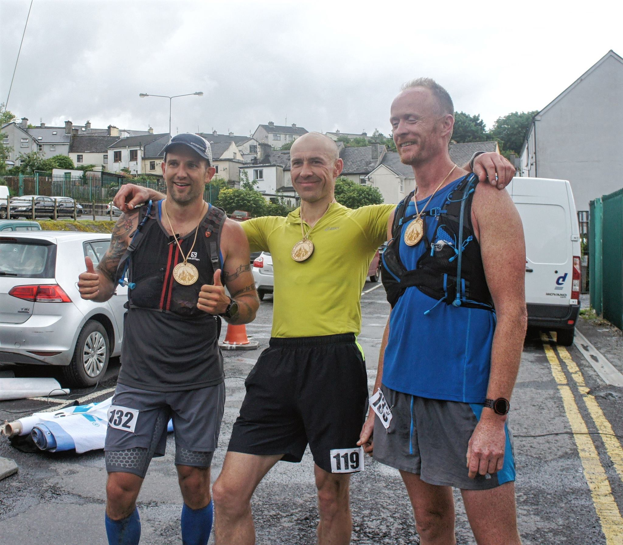 At the finish of the Raw Western Way Trail Ultra,myself 2nd in the 50 Mile,George winner of the 100 mile and Big Bri winner of the 50 Mile
