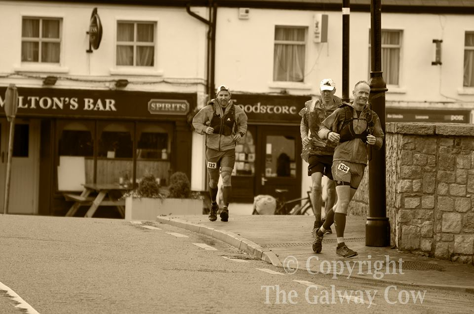 Myself,George and Brian running into Leenaun.Pic by Richie at The Galway COW