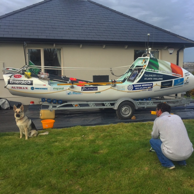 Final job on Doireann was to apply a coat of anti foul paint to her hull. Henry lining up he laser pointer with the ever present Yoda watching on.