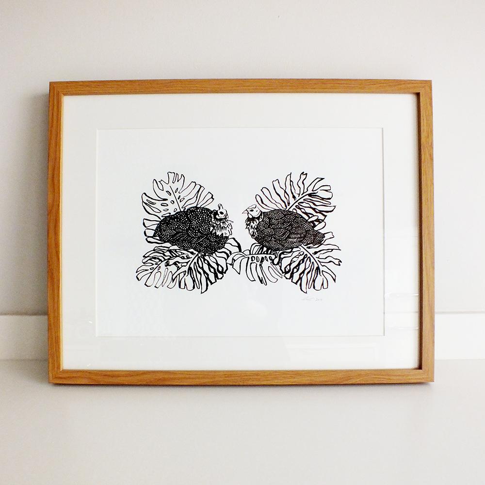 3 guinea-fowl-framed-white