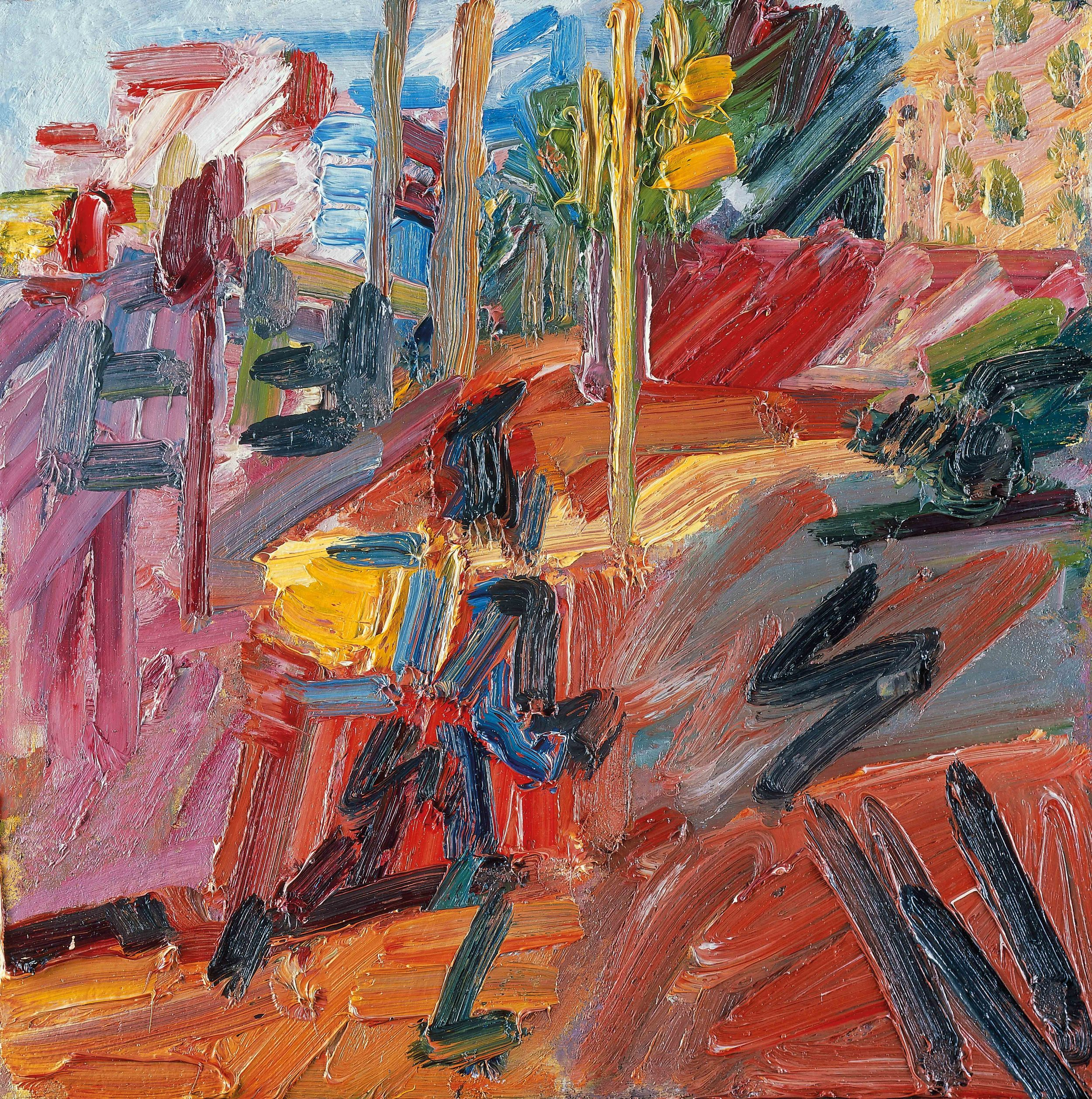 Frank Auerbach (b 1931)   Hampstead Road, High Summer  2010, Painting, Oil paint on board, 562 x 562 mm  Private collection, © Frank Auerbach, courtesy Marlborough Fine Art