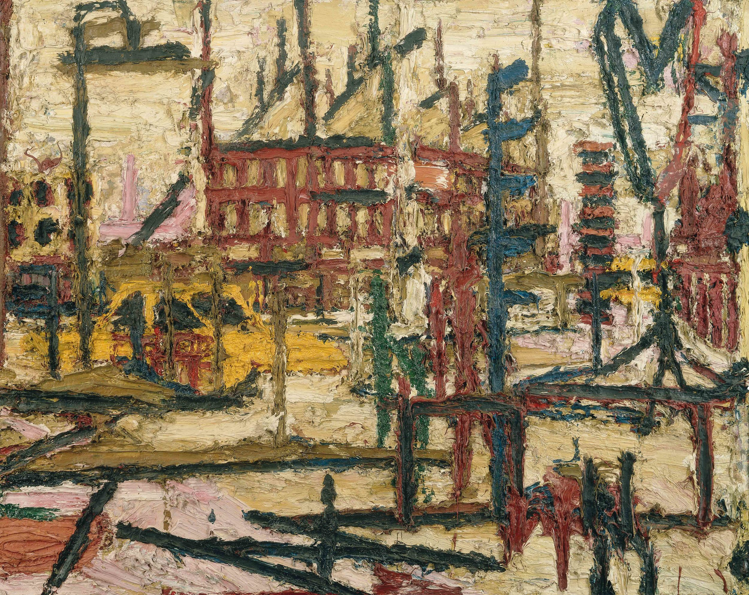 Frank Auerbach (b 1931)  Mornington Crescent  1965, Painting, Oil paint on board, 1016 x 1270 mm  Private collection, © Frank Auerbach, courtesy Marlborough Fine Art