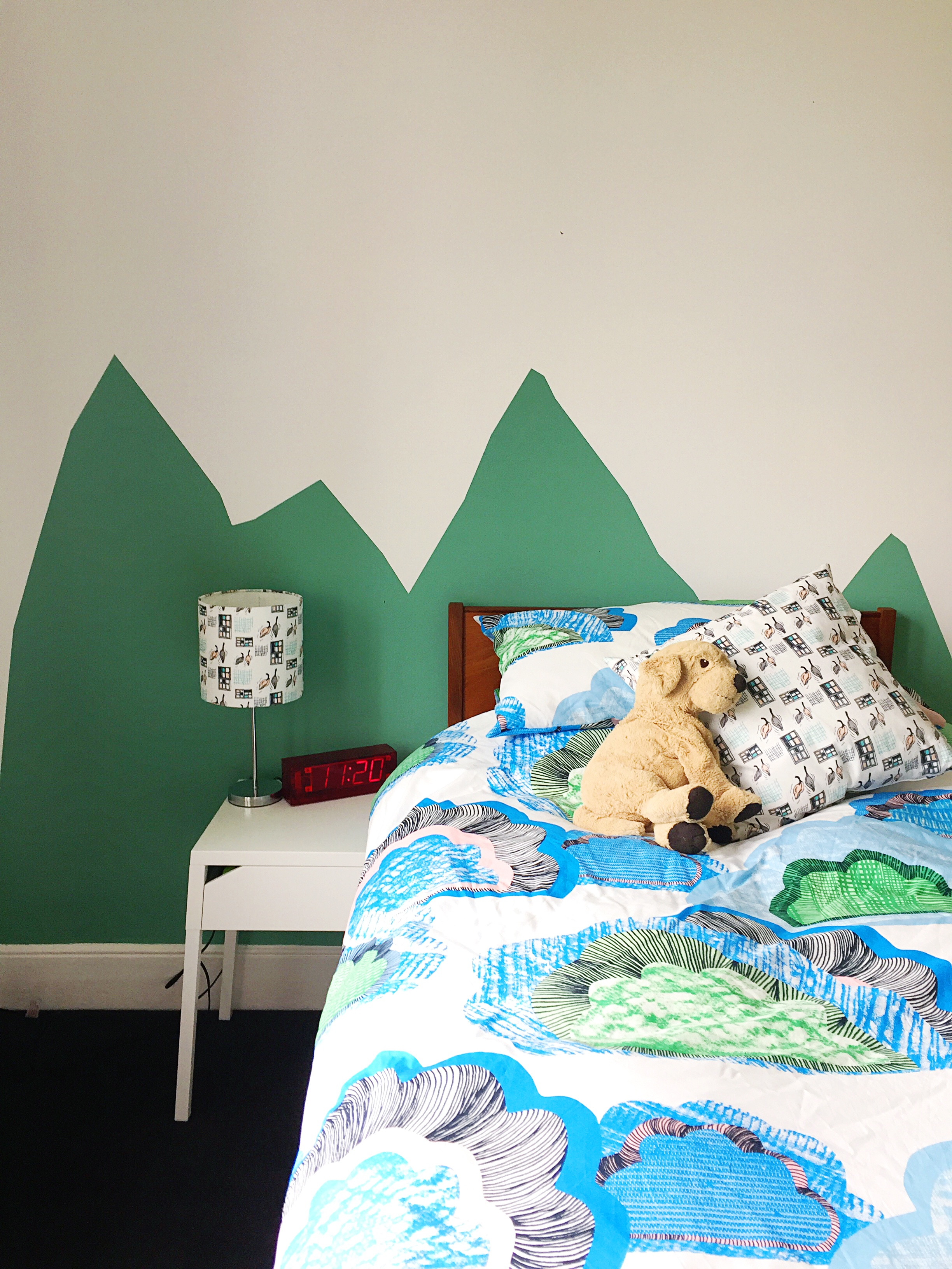 Cushion and lampshade by  me ! - Bedside table and bedding (and Doggy!) from  IKEA  - Clock and headboard are vintage