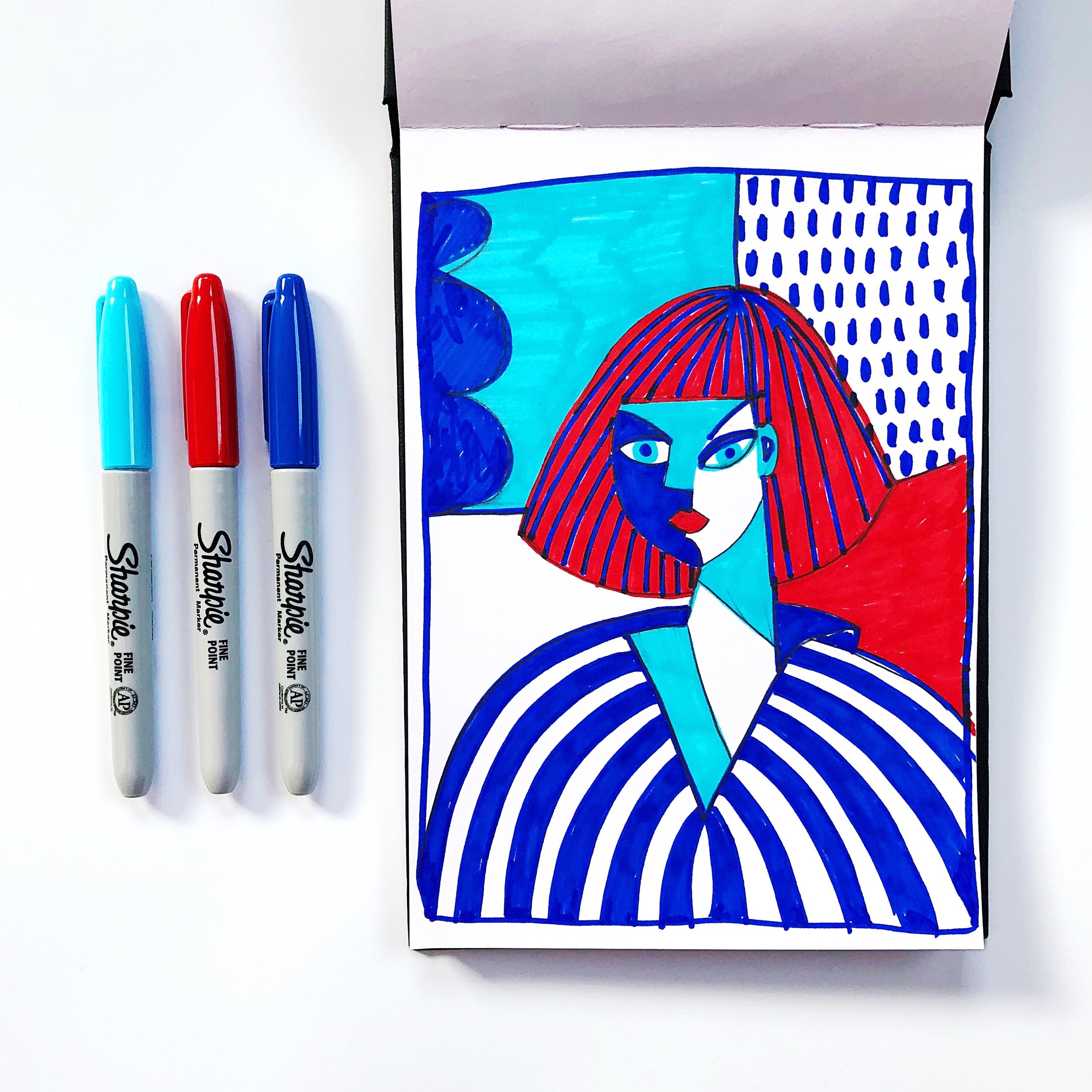 Week 2, day 1 - draw  this Claire Prouvost illustration  in your style and only in red and blue (and in my case giving myself a Sharpie fume headache in the process!!).