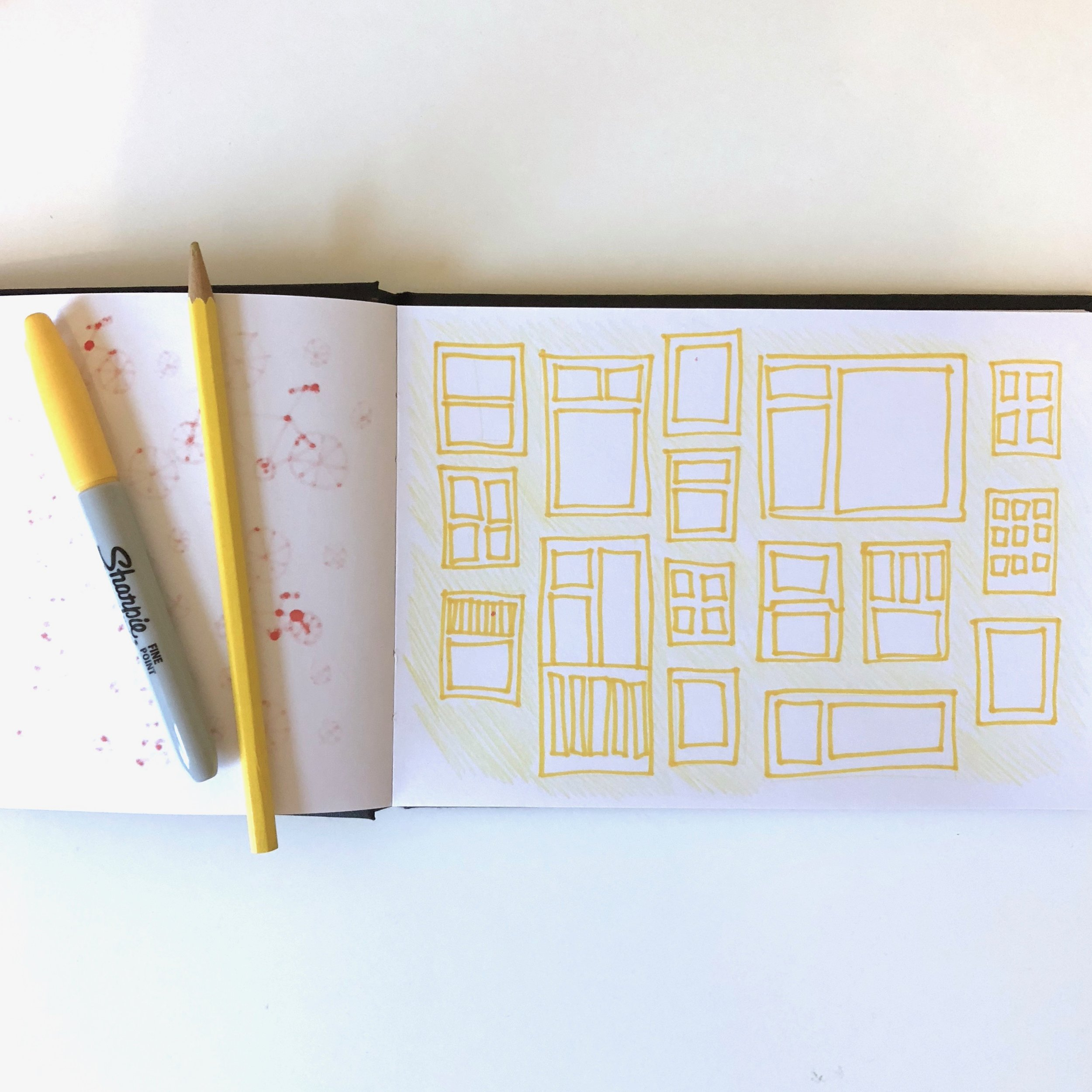 Week 1 , day 3 - one colour drawing yellow