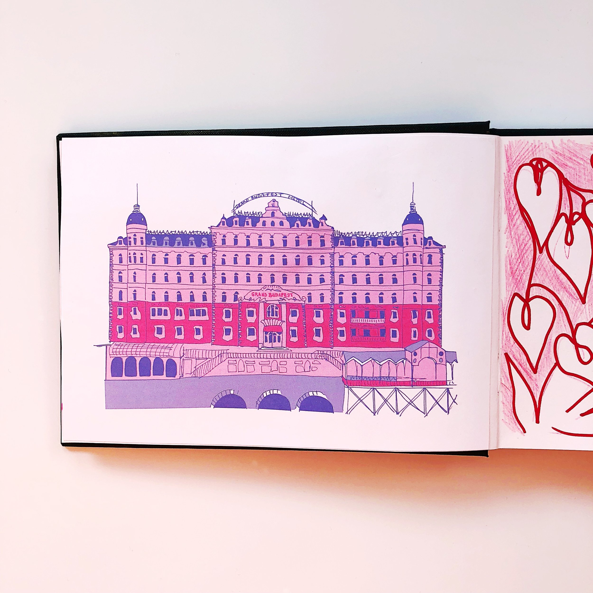 Week 2, day 2 - a scene from a film or TV show using only 2 colours - The Grand Budapest Hotel